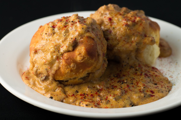 Chorizo Gravy and Biscuits