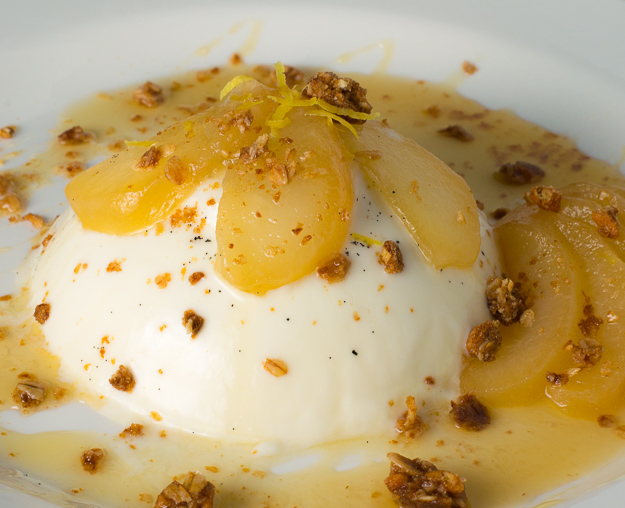 Vanilla Panna Cotta Honey Ginger Poached Pears