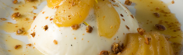 Vanilla Panna Cotta with Honey Ginger Poached Pears