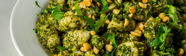 Gnocchi w/ Thai Basil and Cilantro Pesto