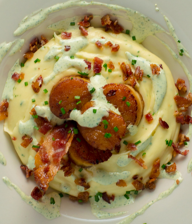 Scallops with Loaded Potato Puree