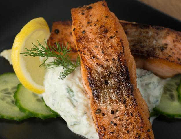 Seared Salmon With Tzatziki