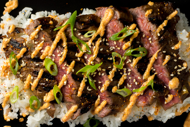 Korean Skirt Steak with Kimchi Aioli